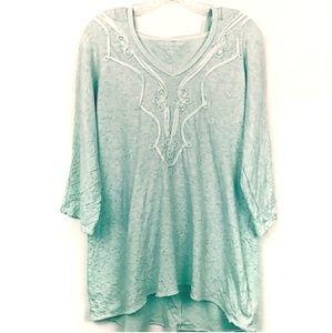 Soft Surroundings | Mint Hooded 3/4 Sleeve shirt
